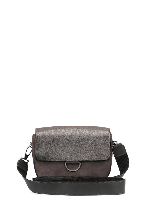 Brunello Cucinelli Charcoal Suede & Metallic Leather Crossbody