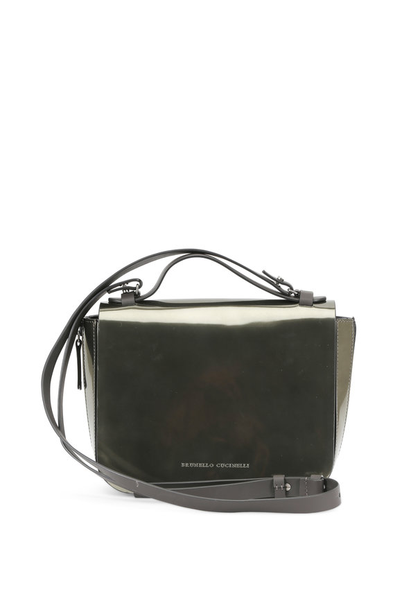 Brunello Cucinelli Military Patent Leather Convertible Shoulder Bag