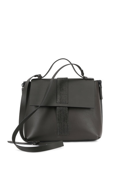 Brunello Cucinelli - Graphite Leather Monili Fringed Satchel