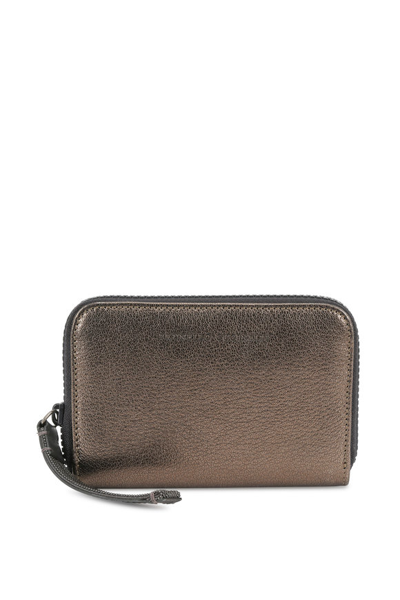 Brunello Cucinelli Metallic Grained Leather Zip-Around Wallet