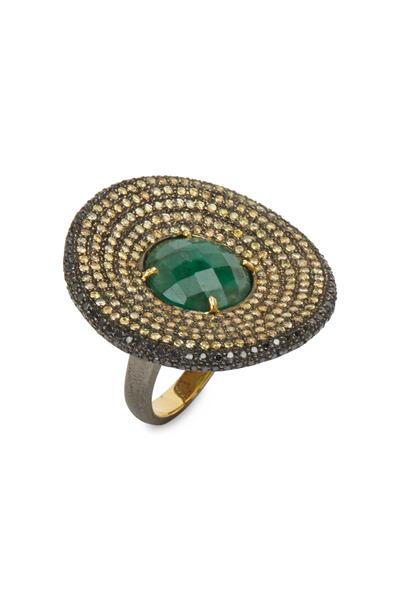 Loriann - Sunny Gold & Silver Emerald Cognac Diamond Ring