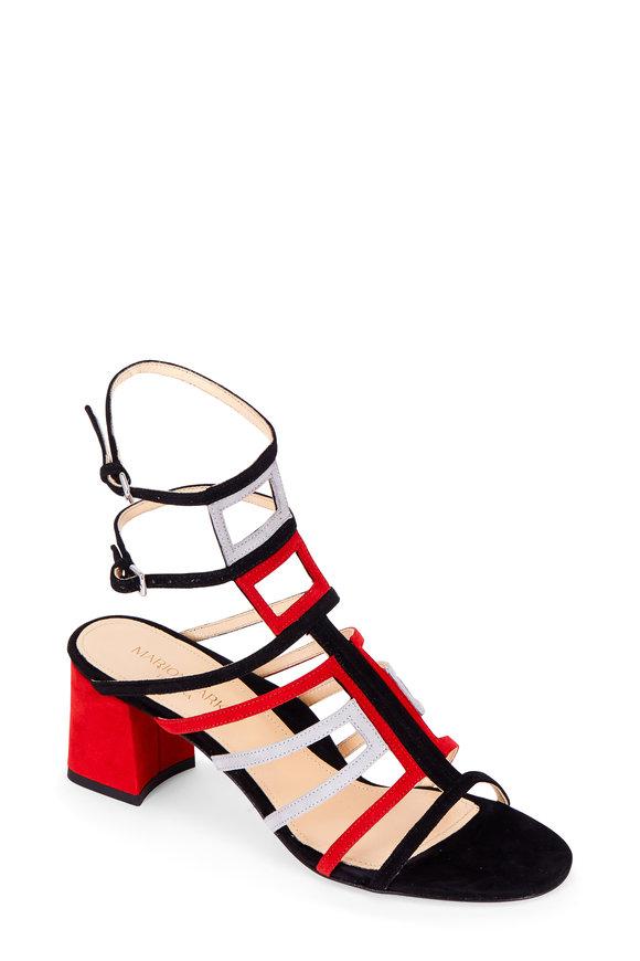 Marion Parke Bridget Mondrian Combo Suede Cage Sandal, 60mm