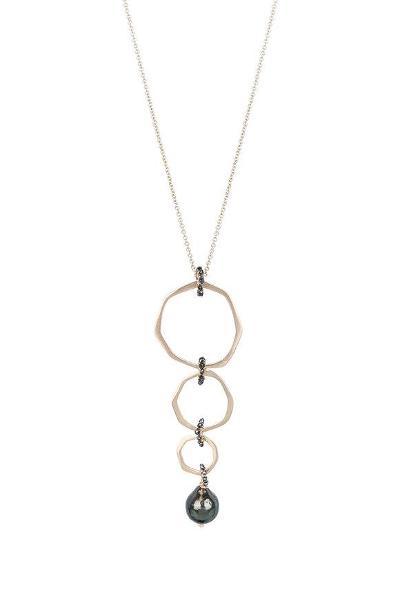 Dana Kellin Gold Black Diamond & Tahitian Pearl Necklace