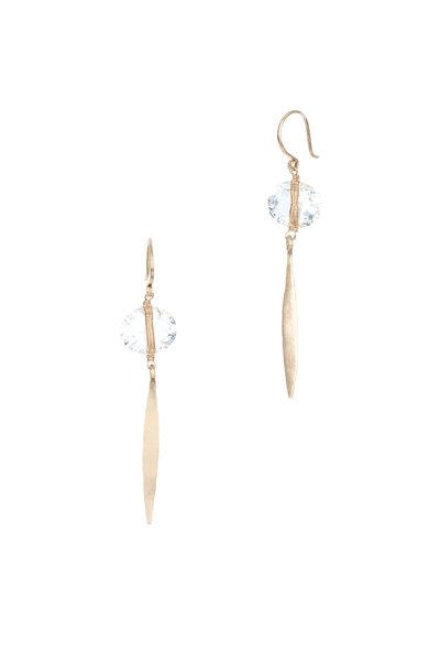 Dana Kellin - 14K Yellow Gold White Topaz Drop Earrings