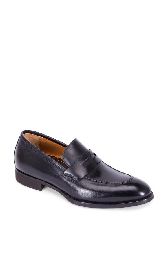 Di Bianco Noce Black Leather Penny Loafer