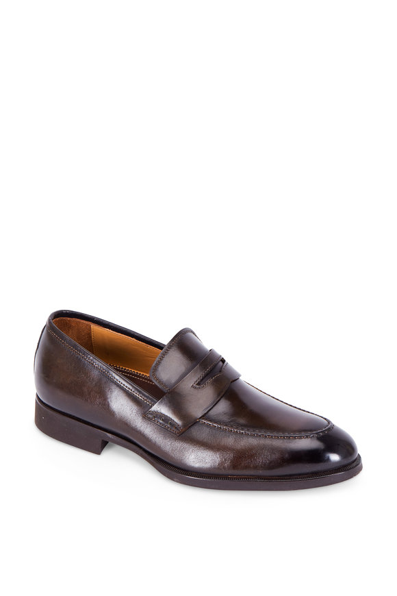 Di Bianco Noce Dark Brown Leather Penny Loafer