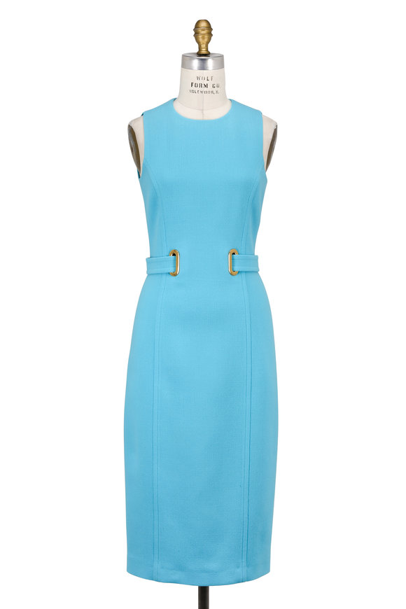 Michael Kors Collection Seaglass Stretch Bouclé Belted Sleeveless Dress