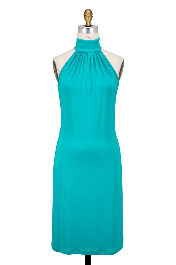 Michael Kors Collection Aquamarine Stretch Jersey Halter Dress