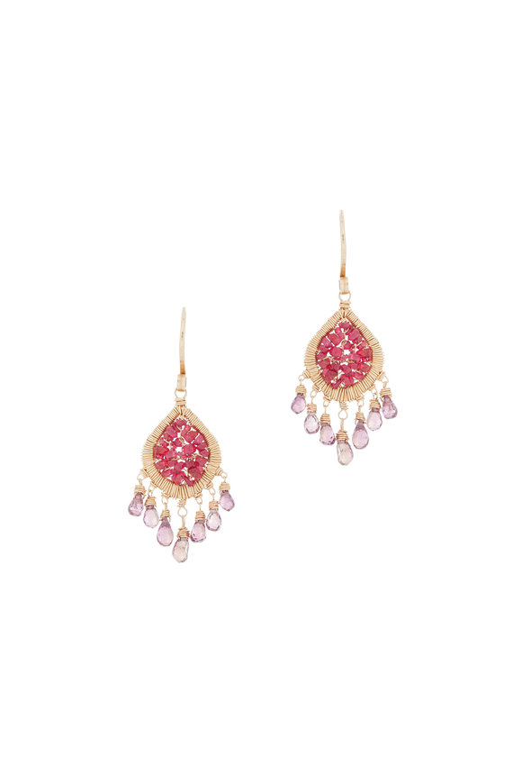 Dana Kellin 14K Yellow Gold Ruby Dangle Earrings