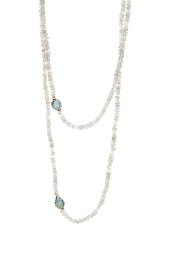 Dana Kellin 14K Gold Tahitian Pearl & Labradorite Necklace