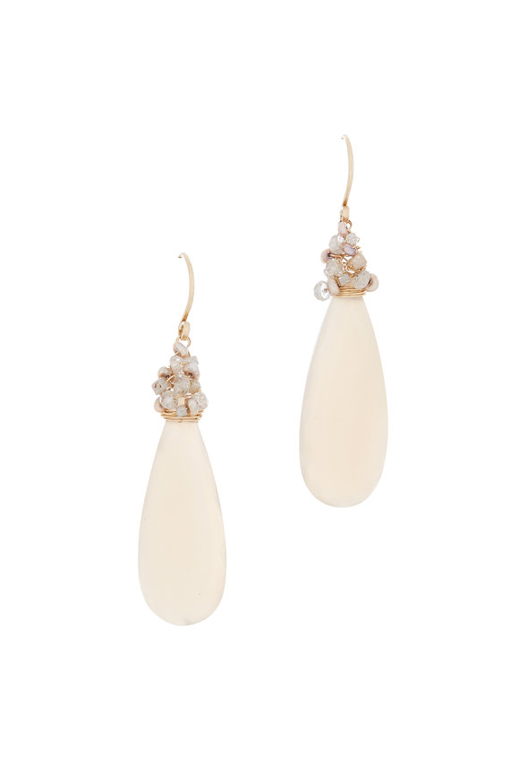 Dana Kellin Gold Moonstone, Zircon, Diamond & Pearl Earrings