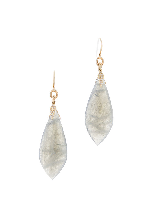 Dana Kellin 14K Yellow Gold Labradorite & Diamond Earrings