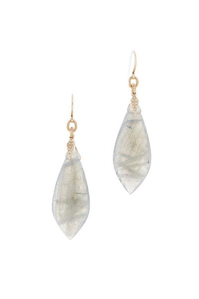 Dana Kellin - 14K Yellow Gold Labradorite & Diamond Earrings