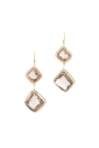 Dana Kellin - 14K Yellow Gold Smokey Topaz Drop Earrings