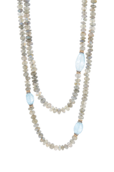 Dana Kellin - 14K Gold Aquamarine & Labradorite Necklace
