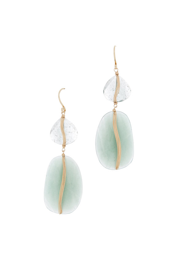 Dana Kellin 14K Yellow Gold Mossy Aquamarine Drop Earrings
