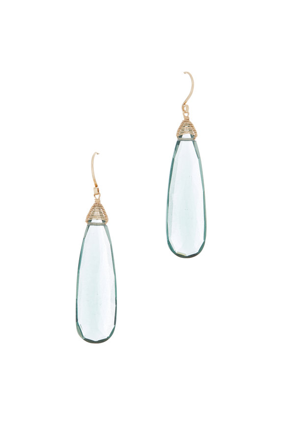 Dana Kellin 14K Yellow Gold Teal Quartz Drop Earrings