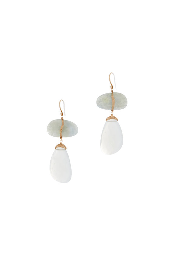 Dana Kellin 14K Yellow Gold Sapphire & Moonstone Drop Earrings
