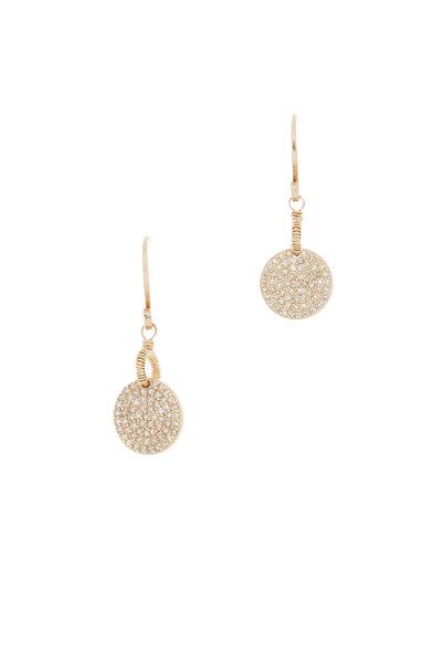 Dana Kellin - 14K Yellow Gold Pavé Diamond Circle Drop Earrings