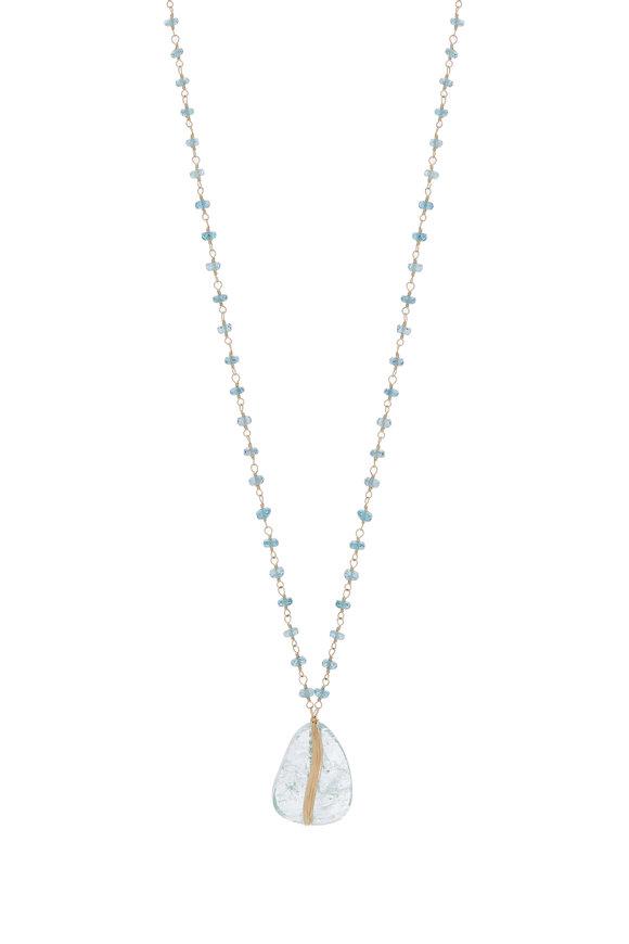 Dana Kellin 14K Gold Aquamarine & Kynite Pendant Necklace