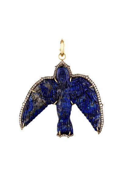 Sylva & Cie - 18K Yellow Gold Lapis & Diamond Bird Pendant