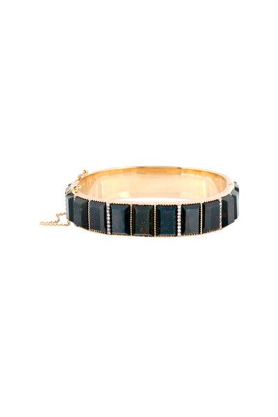 Sylva & Cie - 18K Gold Green Bloodstone & Diamond Bracelet
