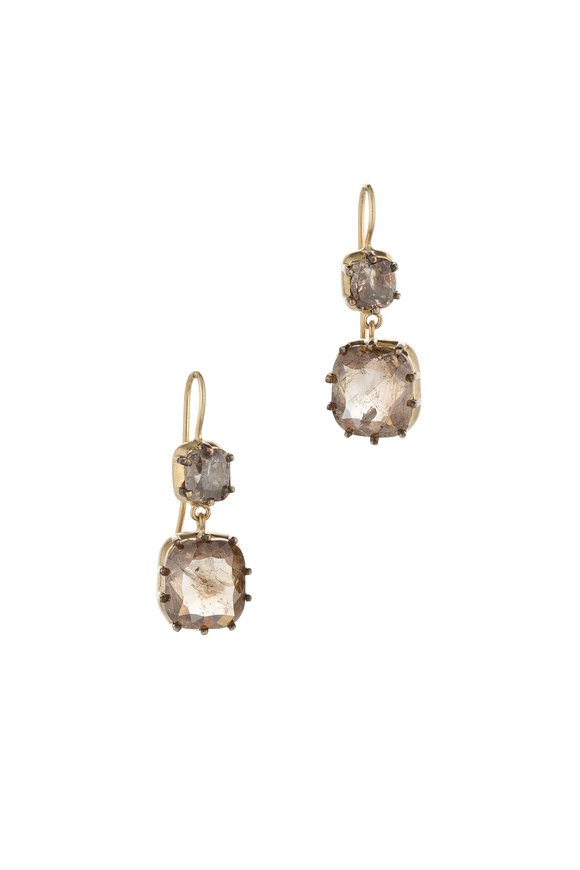 Sylva & Cie 18K Yellow Gold Rough Diamond Drop Earrings