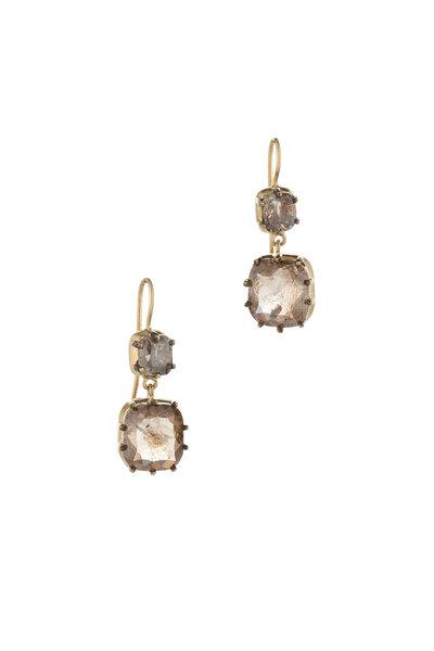 Sylva & Cie - 18K Yellow Gold Rough Diamond Drop Earrings