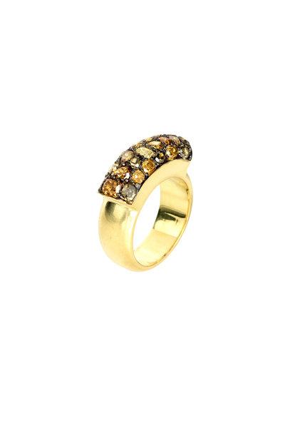 Sylva & Cie - 18K Yellow Gold Fancy Yellow Diamond Saddle Ring