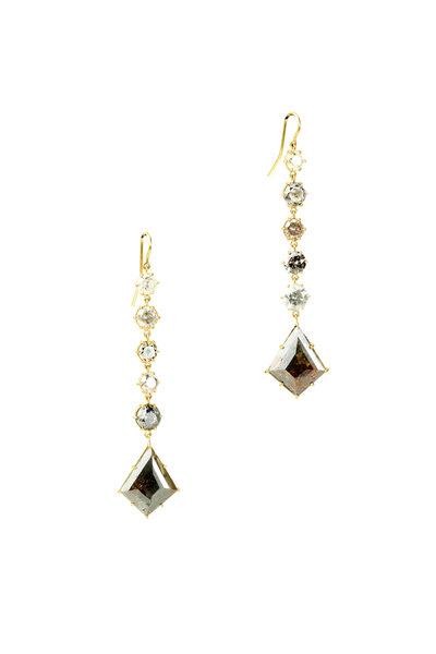 Sylva & Cie - 18K Yellow Gold Diamond Slice Drop Earrings