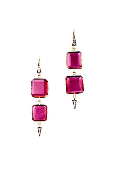 Sylva & Cie - 18K Yellow Gold Ruby Square Slice Drop Earrings