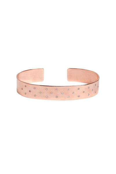 Genevieve Lau - 14K Rose Gold Scattered Diamond Cuff Bracelet