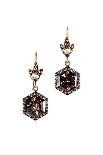 Sylva & Cie - 18K Rose Gold Diamond Hexagon Earrings