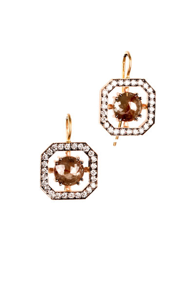 Sylva & Cie - 14K Rose Gold Rough Diamond Window Earrings
