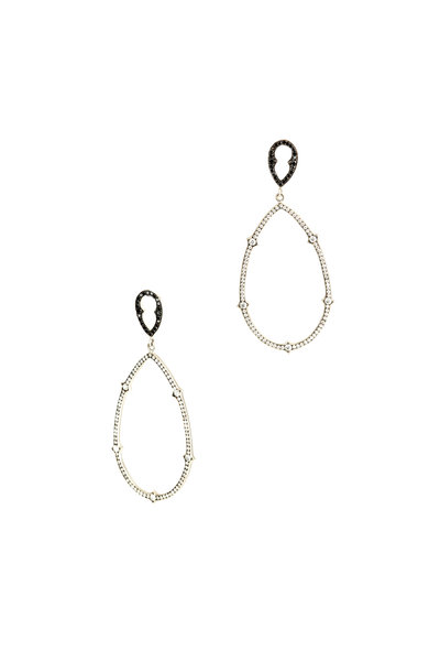 Sylva & Cie - 18K White Gold Black & White Diamond Earrings