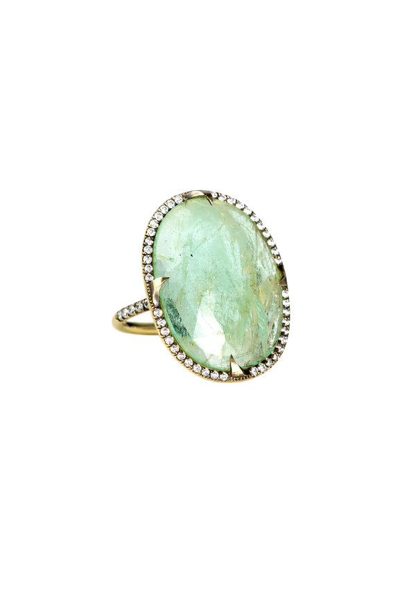 Sylva & Cie 18K Yellow Gold Emerald Slice & Diamonds Ring
