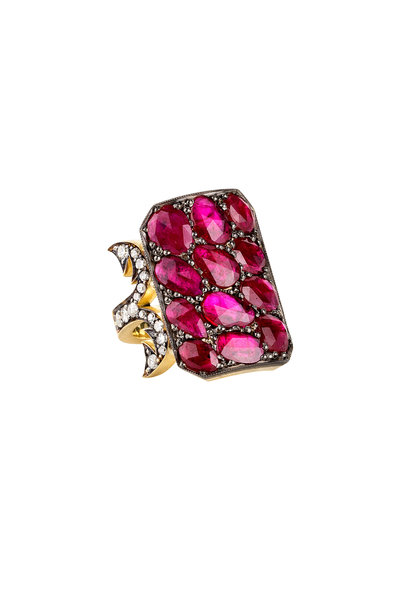 Sylva & Cie - 18K Yellow Gold Ruby & Diamonds Ten Table Ring