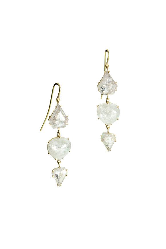 Sylva & Cie 18K Yellow Gold Mixed Rough Diamond Drop Earrings