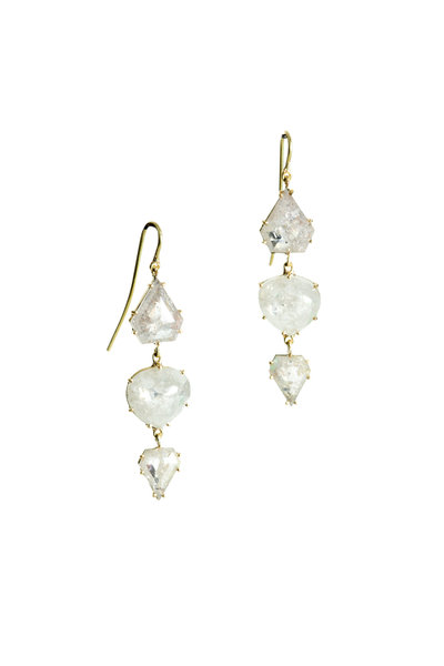 Sylva & Cie - 18K Yellow Gold Mixed Rough Diamond Drop Earrings