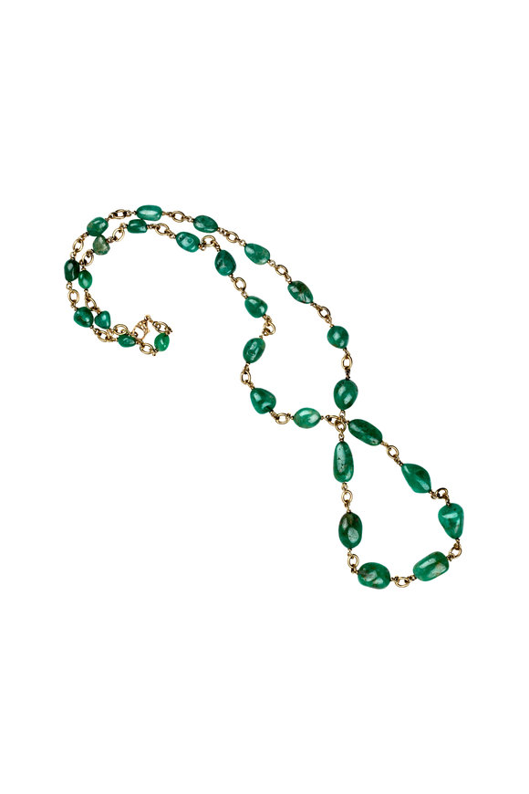 Sylva & Cie 18K Yellow Gold Emerald Beaded Necklace