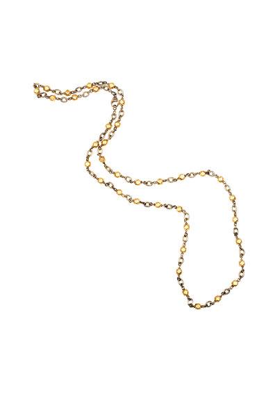 Sylva & Cie - Yellow Gold Geometric Beaded Necklace