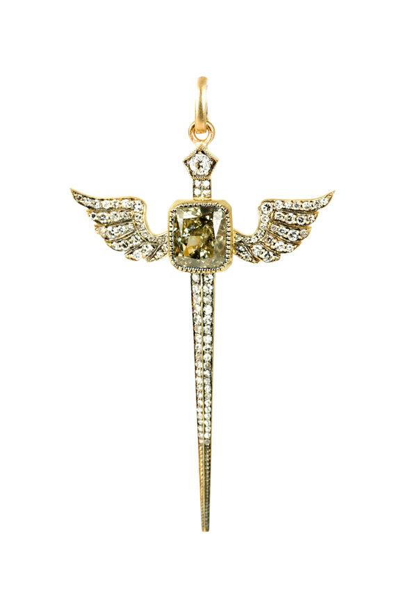 Sylva & Cie Yellow Gold Fancy Diamond Pendant