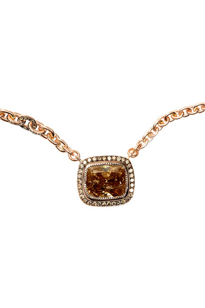 Sylva & Cie - 14K Rose Gold Fancy Diamond Pendant Necklace