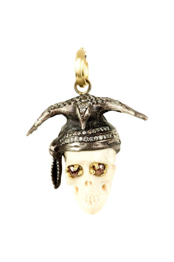 Sylva & Cie 18K Yellow Gold & Silver Johnny Skull Pendant
