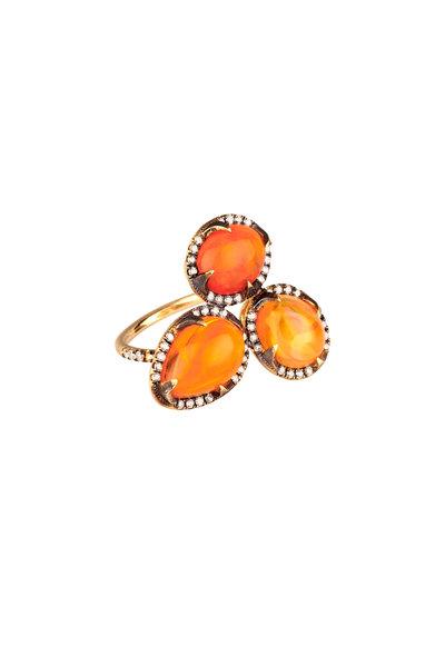 Sylva & Cie - 18K Yellow Gold Mexican Opal & Diamond Ring