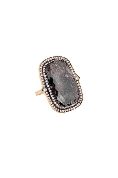 Sylva & Cie - 18K Yellow Gold & Silver Rough Diamond Egg Ring