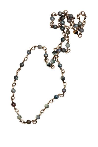 Sylva & Cie - 14K Yellow Gold & Silver Blue Opal Beaded Necklace