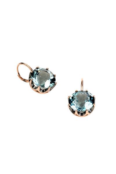 Sylva & Cie - 18K Rose Gold Blue Topaz Earrings