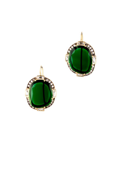 Sylva & Cie - 18K Yellow Gold Tourmaline & Diamond Earrings