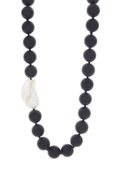 Patricia von Musulin - Sterling Silver Night Bird Onyx & Pearl Necklace